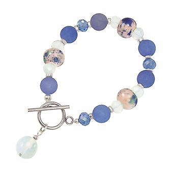 Ewige Kollektion Harmonie Kornblume blau Jade und Crystal-Keramik Perlen Armband