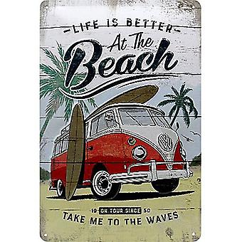 Volkswagen VW Camper At The Beach embossed metal sign 300mm x 200mm (na)