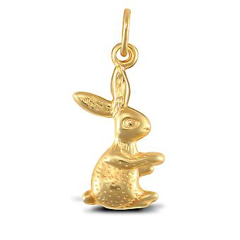 Jewelco London Ladies 9ct Yellow Gold Bunny Rabbit Charm Pendant