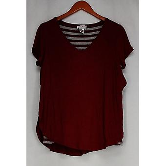 OSO Casuals Top Cap Sleeve Solid Over Stripe Hi-Lo Knit Top Red A428150