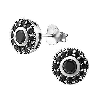 Round - 925 Sterling Silver Cubic Zirconia Ear Studs - W30803X