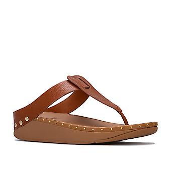 Womens Fit Flop Isabelle Stud Toe Thong Sandals in Tan