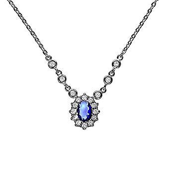 ZEEme 925 silver Blue white Oval Glass FineNECKLACEBRACELETANKLET
