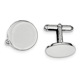 925 Sterling Silver Solid Polished Engravable Rhodium Plated Round Cuff Links Jewelry Gifts for Men