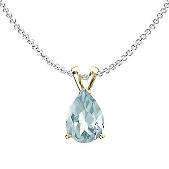 Dazzlingrock Collection 10K 9x7 mm Pear Cut Aquamarine Ladies Solitaire Pendant (Silver Chain Included), Yellow Gold