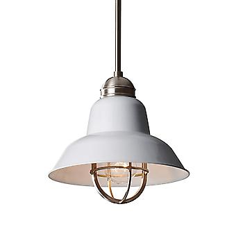 Feiss Urban Renewal Mini Brushed Steel Pendant In Gloss White