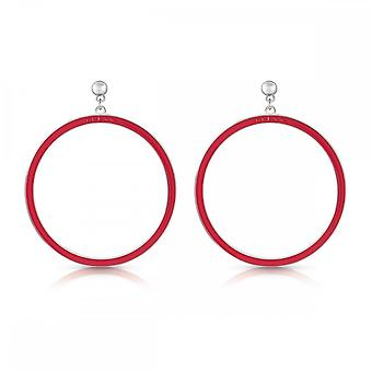 Guess Jewellery Guess Red Enamel Guess Logo Hoops With Stud UBE78113
