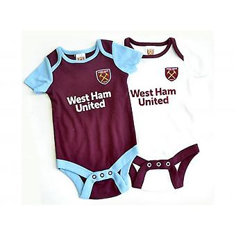 West Ham United FC Unisex Baby 2019/20 Bodysuits (Pack Of 2)