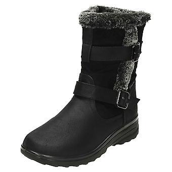 Cushion-Walk Wedge Heeled Warm Mid Calf Boots