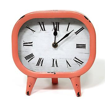 Retro Coral Metal Table Clock