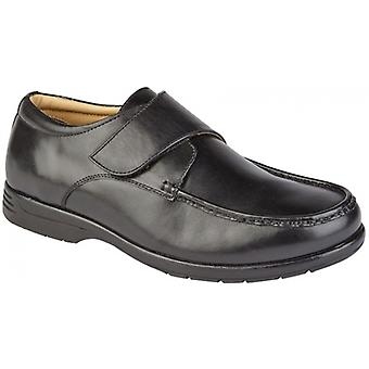 Roamers Albie Mens Leather Extra Wide Fit Touch Fasten Loafers Black