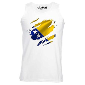 Reality glitch torn bosnia flag mens vest