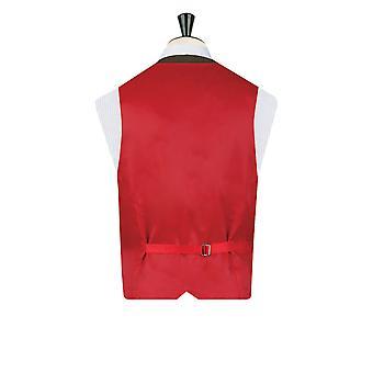 Dobell Herre grøn Tweed veste Regular fit uld Blend Windowpane kontrol 5 knap
