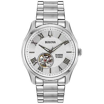 Bulova Mens Wilton automatiska rostfritt stål Silver 96A207 klocka