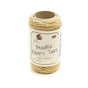20m Gold & Gold Sparkle Natural Bakers Twine for Crafts & Gift Wrapping