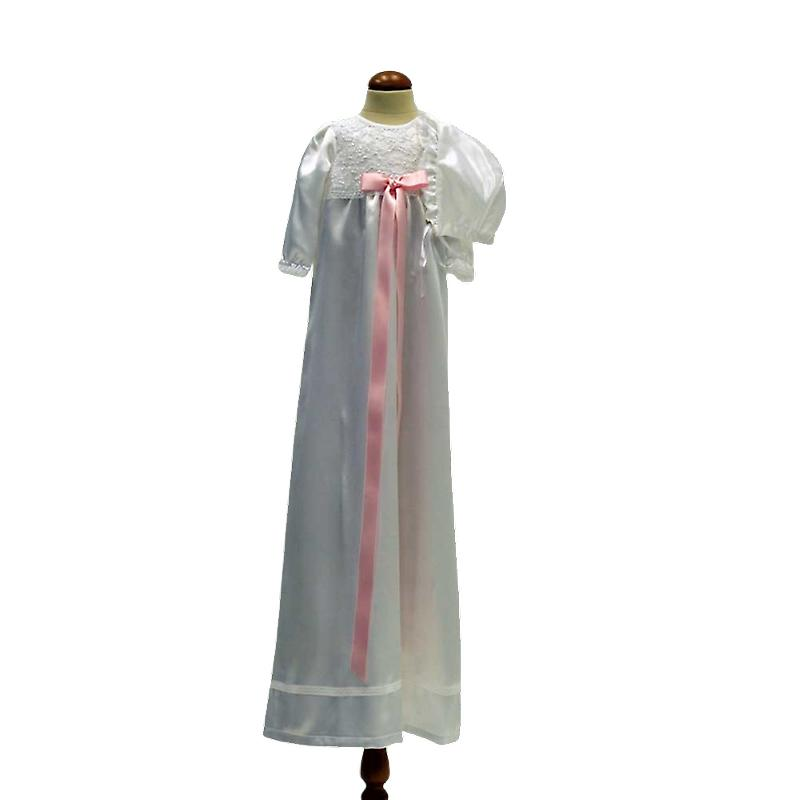White Christening Dress And Bonnet, With Broad Pink Rosette Ma.v