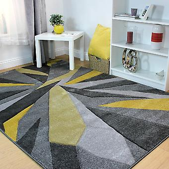 Hand Carved Shatter Grey Ochre  Rectangle Rugs Modern Rugs
