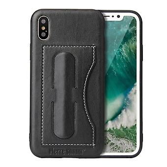 For iPhone XS,X Case,Fierre Shann Elegant Luxury Protective Leather Cover,Black