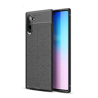 For Samsung Galaxy Note 10 Case Black Lychee Texture TPU Protective Back Shell