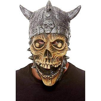 Wikinger Skelett Latex Maske Erwachsene Silber