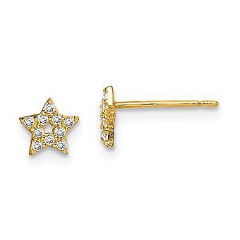 14k Madi K Estrella CZ Cubic Zirconia Simulado Diamante Post Pendientes Joyería Regalos para Mujeres