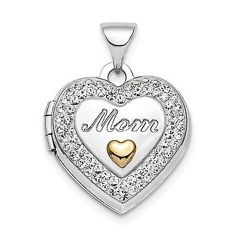 15.5mm 925 Sterling Silver Rhodium plaque Or tone Preciosa Crystal Mom Photo Locket Pendant Necklace Jewelry Gifts for