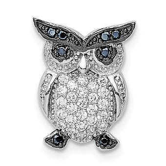 925 Sterling Silver Rhodium plaqué noir et clair CZ Cubic Zirconia Simulated Diamond Owl Chain Slide Bijoux pour