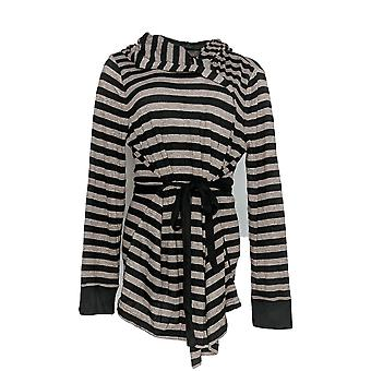 Anybody Women's Sweater Brushed Hacci Striped Hooded Cardigan Black A310150