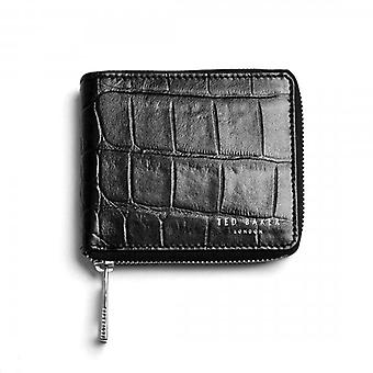 Ted Baker Shoppa Black Croc Emboss Leather Zip Arund Bi-fold Wallet With Coin Pkt