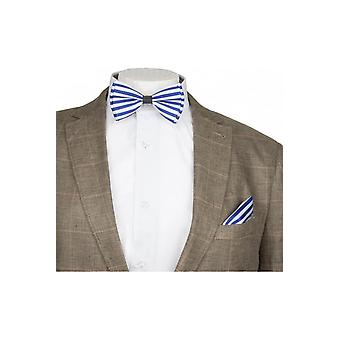 JSS Blue & White Striped Silky Satin Bow Tie And Handkerchief Set