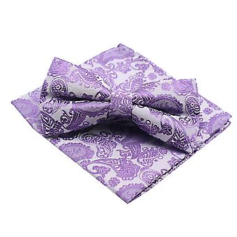 Lavender purple lilac bow tie & pocket handkerchief set