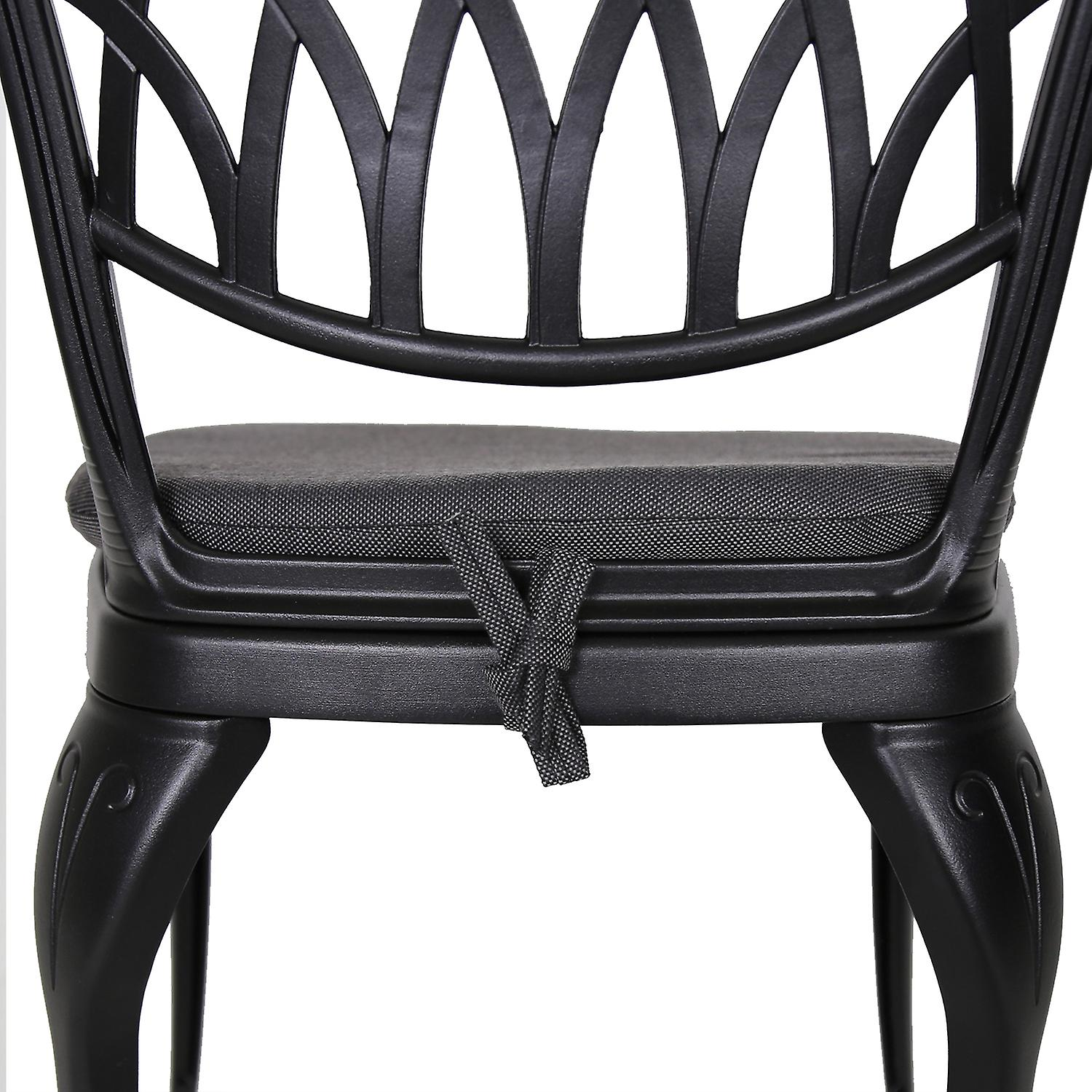 Charles Bentley Cast Aluminium Bistro Round Table And 2 Chairs Set Black Outdoor Table with Dark Grey Cushions