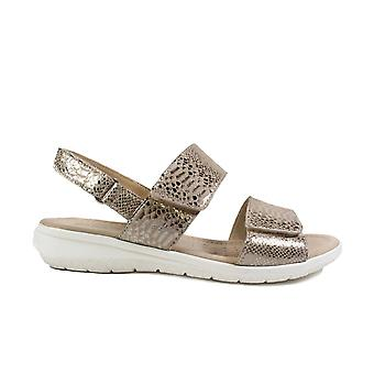 Caprice 28602 Taupe Snake Print Leather Womens Rip Tape Slingback Sandals