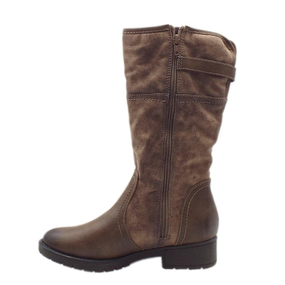 Jana Soft Line 25463 Peking Stylish Wide Fit Fleece Lined Boot In Taupe