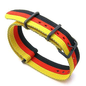 Strapcode n.a.t.o watch strap 20mm or 22mm nato german special pvd black nylon watch strap (german flag design)