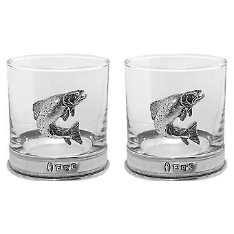 Trout Pewter Whisky Glass Tumbler - Set of 2