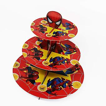 Spiderman - Red & Yellow Theme Foldable Cardboard 3-Tier Cupcake Stand