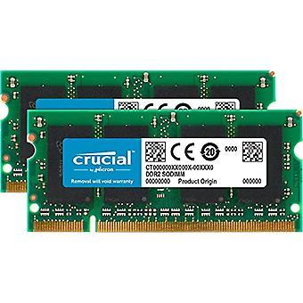 Crucial CT2KIT12864AC800 2 GB Memory Kit (1 GB x 2), DDR2, 800 MHz, PC2-6400, SODIMM, 200-Pin
