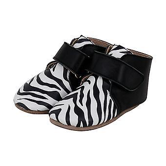 SKEANIE Leather Pre-walker Oxford Boots in Zebra/Black
