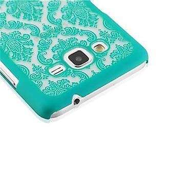 Samsung Galaxy GRAND PRIME Hardcase Case in GREEN par Cadorabo - Floral Paisley Henna Design Protective Case - Phone Case Bumper Back Case Cover
