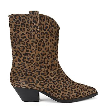 Ash FOXY Mid Calf Boots Leopard Print Suede