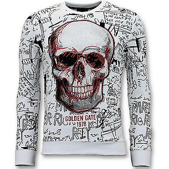 Sweater With Print - Skull Crewneck - White