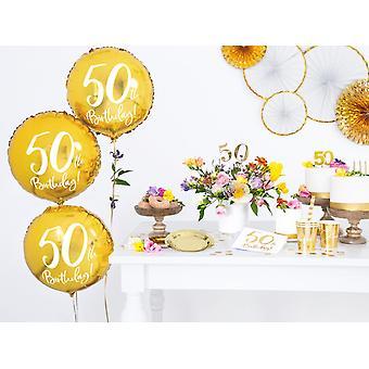 Folieballong Guld 50 år   45 cm
