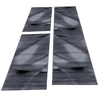 Carpet Runner Set Bed Border Korte Bloementapijten Zwart gesmolten 3-delige
