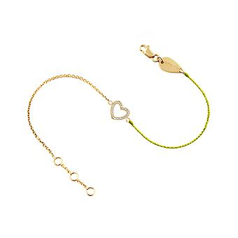 Bracelet Heart 18K Gold and Diamonds, on Half Thread Half Chain - Yellow Gold, NeonYellow
