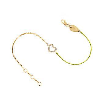 Armband Herz 18K Gold und Diamanten, auf halbfaden halbkette - Gelbgold, Neongelb