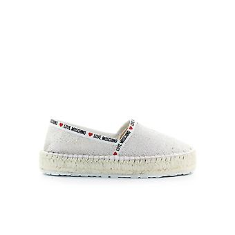 LOVE MOSCHINO BLANC SILVER SEQUINS ESPADRILLES