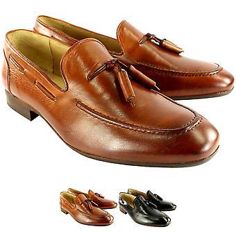 Mens H By Husdon Pierre Flat Tassle Loafer Smart Shoes Slip On