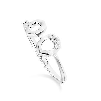 Diamant asymmetrische offene Ring in 9ct Weißgold 162R0391019