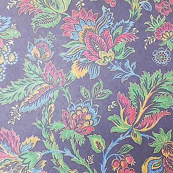 Floral Trail Wallpaper Flowers Berries Black Gold Metallic Paste Wall Fardis